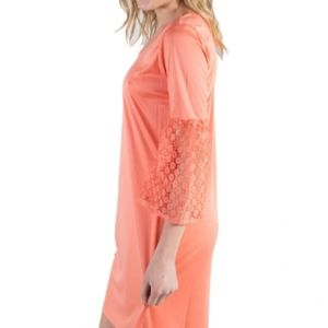 Shift Dress Lace Bell Sleeves Peach Small